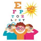 Kinder am Augenarzt Lizenzfreies Stockbild