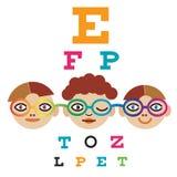 Kinder am Augenarzt Stockfotografie