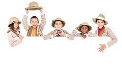 Kinder bereit zum Abenteuer Stockbild
