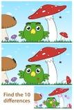 Kinder beschmutzen das Unterschiedpuzzlespiel mit einem kleinen Vogel Stockfotografie