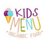 Kinder biologisches Lebensmittel, Café-spezielles Menü für Kindbunte Promo-Zeichen-Schablone mit Text mit Eistüte Stockfotos