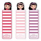 Kinder bookmarken Karikatur mit netten Mädchen auf der bunten Art, die für Kinderbookmark passend ist Lizenzfreie Stockfotografie