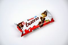 Kinder Bueno. Milk and hazelnuts.  is a chocolate bar, a very popular dessert for children, made by Italian confectionery maker Ferrero. Isolate white royalty free stock photos