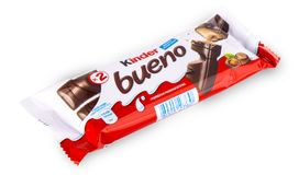 Kinder Bueno snack made from milk. Chisinau, Moldova - 26 December2017: Kinder Bueno snack made from milk and soft sponge cake covered in chocolate. Kinder stock images