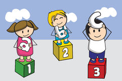 Kinder children. Boy girl cloud happiness Royalty Free Stock Photos