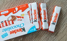 Kinder Chocolate Bars Snack, Made From Sponge Milky Layer Covered In Chocolate. Royalty Free Stock Images