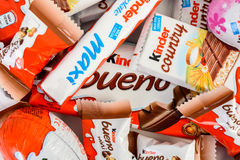 Kinder Chocolate. BUCHAREST, ROMANIA - DECEMBER 04, 2015: Kinder Chocolate is a confectionery product brand line of Italian confectionery multinational Ferrero royalty free stock image