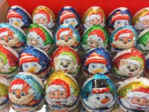 Kinder Chocolate Christmas figures. Berlin, Germany - October 13, 2018: Kinder Chocolate Christmas figurines and eggs. Kinder Chocolate is a confectionery royalty free stock image