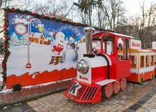 Kinder Chocolate Christmas installation in Kiev, Ukraine. stock image