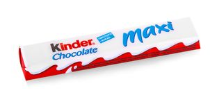Kinder Chocolate Maxi snack made from milk Royalty Free Stock Images
