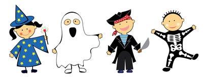 Kinder in den Halloween-Kostümen lizenzfreies stockfoto