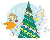 Kinder in den Weihnachtskostümen vektor abbildung