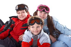 Kinder in den Wintermänteln Lizenzfreies Stockbild