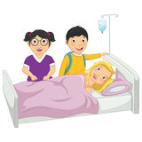 Kinder in der Krankenhaus-Vektor-Illustration Stockbild