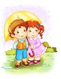 Kinder. Der Regen Stockfotografie