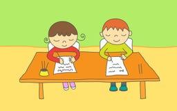 kinder schreiben und lesen und sitzen am tisch vektor abbildung illustration von stuhl. Black Bedroom Furniture Sets. Home Design Ideas