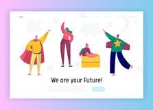 Kinder in der Superheld-Kostüm-Spiel-Landungs-Seite Mädchen-Maß-Wachstum Glücklicher Kindercharakter, der Spaß im Baby-Raum hat vektor abbildung