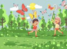 Kinder der Vektorillustrations-Zeichentrickfilm-Figur zwei, junge Naturwissenschaftler, Biologenjunge und Mädchen fangen bunte Sc vektor abbildung