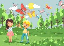 Kinder der Vektorillustrations-Zeichentrickfilm-Figur zwei, junge Naturwissenschaftler, Biologenjunge und Mädchen fangen bunte Sc lizenzfreie abbildung