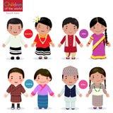 Kinder der Welt (Malediven, Indien, Bhutan und Nepal) Lizenzfreie Abbildung
