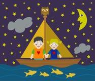 Kinder, die Abenteuer segeln Stockbild