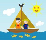 Kinder, die Abenteuer segeln Stockfotografie
