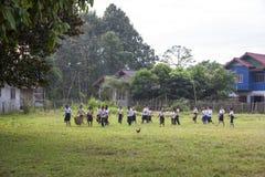 Kinder, die Abfall in der Schule auswählen lizenzfreies stockfoto