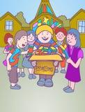 Kinder, die Abgaben für Kirche montieren Stockfotos