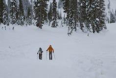 Kinder, die abwärts sledding sind Mt regnerischeres NP, WA USA - Januar, 3d 2016 Stockfotos