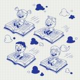 Kinder, die auf Bücher fliegen Lizenzfreie Stockbilder