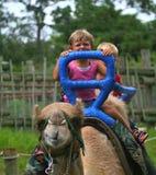 Kinder, die auf das Kamel fahren Lizenzfreie Stockbilder