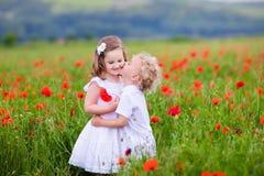 Kinder, die auf dem roten Mohnblumenblumengebiet spielen Lizenzfreies Stockfoto