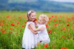 Kinder, die auf dem roten Mohnblumenblumengebiet spielen Stockbilder