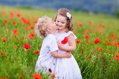 Kinder, die auf dem roten Mohnblumenblumengebiet spielen Lizenzfreie Stockbilder