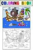 Kinder, die auf dem Thema des Piratenvektors färben Lizenzfreies Stockfoto