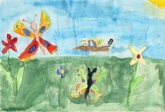 Kinder, die auf ein Papier - butterflys zeichnen Stockfotografie