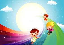 Kinder, die auf Regenbogen schieben lizenzfreie abbildung