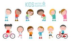 Kinder, die, Kinder ausdehnen, Kind trainiert, glückliche trainierende Kinder, flache nette Karikaturdesign-Vektorillustration tr lizenzfreie abbildung