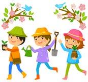 Kinder, die Bäume pflanzen stock abbildung