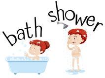 Kinder, die Bad und Dusche nehmen stock abbildung