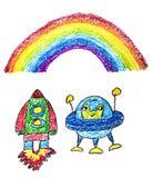 Kinder, die Bild zeichnen Raumforschung Schule, Kindergartenillustration Spielen Sie und wachsen Sie Zeichenstiftbild UFO, Ausl?n stockfotos