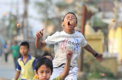 Kinder, die 'am Biss die teilnehmen, hängenden Plätzchen' Stockfotografie