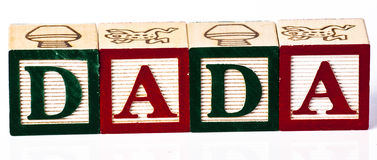 Kinder, die Block Dada spielen Stockfoto
