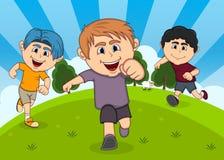 Kinder, die an der Parkkarikatur spielen lizenzfreie abbildung