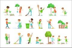 Kinder, die in der umweltfreundlichen Gartenarbeit, Bäume pflanzend helfen und draußen räumen auf und bereiten den Abfall und die vektor abbildung