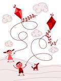 Kinder, die Drachen fliegen Stockbild