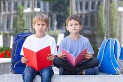 Kinder, die draußen neue Sprache lernen Stockbild