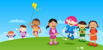 Kinder, die draußen spielen vektor abbildung