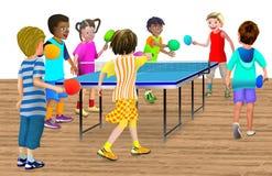 7 Kinder, die ein Tischtennisspiel spielen Stockfotos