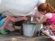 Kinder, die eine gefälschte Kuh melken Lizenzfreie Stockfotografie